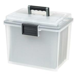 Iris Letter Size Portable Weathertight File Box Clear