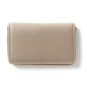 Business Card Case Full Grain Leather Ginger gray
