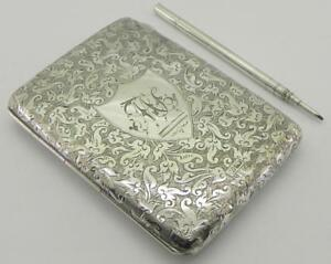 Victorian Solid Silver Card Case Wallet Pencil 113gr Chester 1901 By Rb
