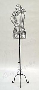 Female Metal Wire Dress Form black Adjustable Height Frame Display Stand