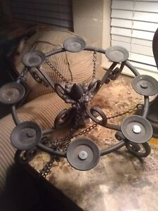 Vintage Spanish Colonial Style Wrought Iron Metal Ceiling Hanging Chandelier1950