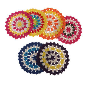 6pcs 11cm Colored Round Cotton Crochet Lace Doily Table Placemat Coaster Mat