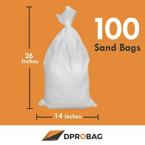 100 White Sandbags 14x26inches 1600uvi 100 Poly Sand Bags Empty White With Tie
