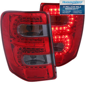 Fits 99 04 Jeep Grand Cherokee Tail Lights Left Right Pair W Red Smoke Lens
