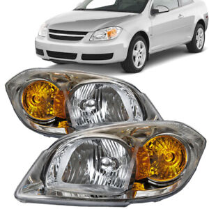 Headlights Halogen Pair Set Fits 2005 2010 Chevrolet Cobalt Sedan Coupe