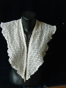 Antique19c Large Bertha Collar Shoulders H Made W Tiny Valenciennes Lace Trims