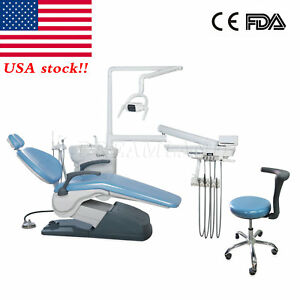Fda Dental Stool Chair Unit Computer Controlled 110v Hard Leather Diamond Blue