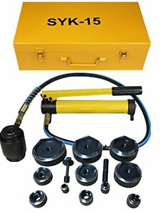 15ton 1 2 To 4 1 2 Hydraulic Knockout Punch Kit Hand Pump 11 Dies Tool Hydraul