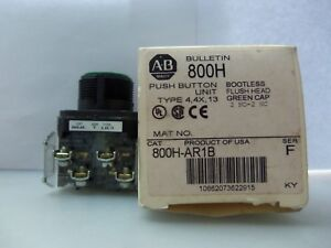 New Allen Bradley 800h ar1b Bootless Fush Head Green Cap Push Button Ser F Nib