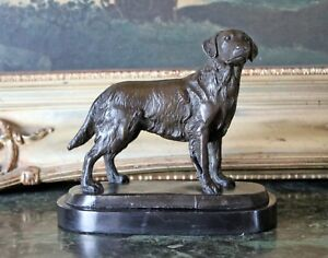 Golden Retriever Bronze Marble Dog Statue Collectible Figurine Trainer Art Gift