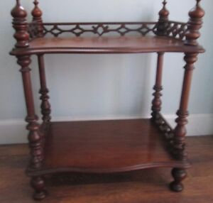 Antique Victorian Walnut 2 Tier Whatnot Shelf Or Mini Etagere W Gallery