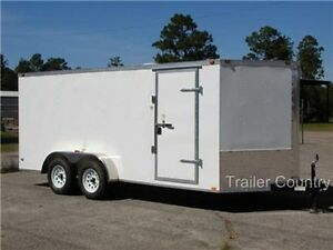 New 7x14 7 X 14 V nose Enclosed Cargo Trailer W Ramp