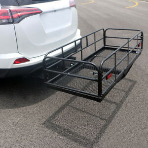 60 Steel Folding Hitch Mount Cargo Carrier Mounted Basket Luggage Rack Port