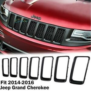 7pcs Gloss Black Front Grille Trim Ring Insert For Jeep Grand Cherokee 2014 2016