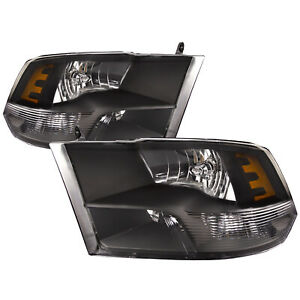 Fits 09 2012 Dodge Ram 1500 Black Headlights W Quad Lamp 10 12 Ram 2500 3500