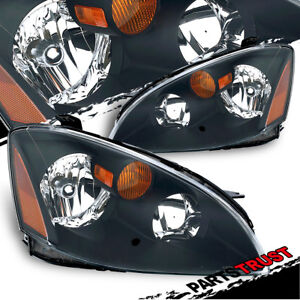 For 2002 2003 2004 Nissan Altima Black Factory Style Replacement Headlights Pair