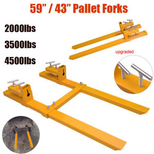 2000lb 3500lb 4500lb Clamp On Loader Bucket Skidsteer Tractor Chain Pallet Forks