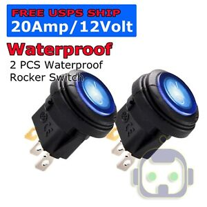 2x 12v 20a Waterproof Round On Off Rocker Switch Car Auto Boat Spst Marine Blue