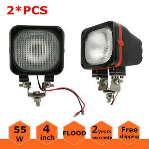 2x 55w Hid Xenon Light Truck Jeep Offroad 4wd 12v Flood Square 4x4inch Fog Ford