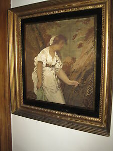 Antique 1812 Georgian Embroidery Painting On Silk In Orig Eglomise Frame