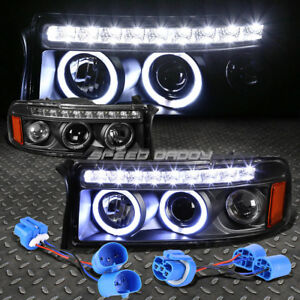 Black Dual Halo Projector led Drl 1pc Headlight corner For 94 02 Dodge Ram sport