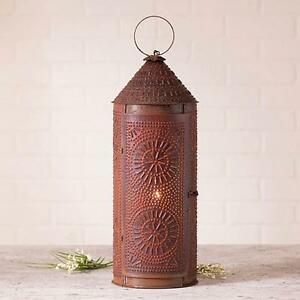 Country New Large Electric Rusty Punched Tin Tinner S Lantern