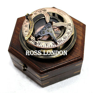 Ross London Steampunk Solid Brass Sundial Compass In Fitted Wooden Box