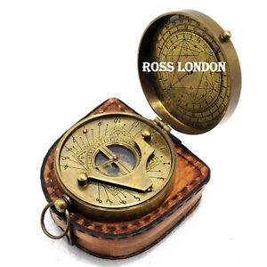 Ross London Sundial Compass Gilbert Sundial With Leather Case Marine Gift Item