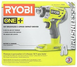 Ryobi P238 18 volt One 1 4 Brushless 3 speed Impact Drill Driver Tool only New