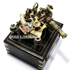Ross London 6 Brass Astrolabe Sextant W Decorative Wooden Box Nautical Sextant