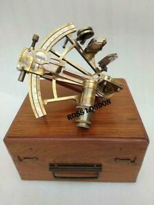 Ross London 8 Inch Maritime Antiques Marine Captain Brass Nautical Sextant