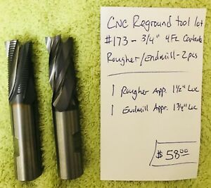 Cnc Reground Tool Lot 173 3 4 Carbide Rougher End Mill 2 Pcs