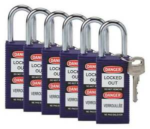 Lockout Padlock ka purple 3 h pk6 Brady 123430