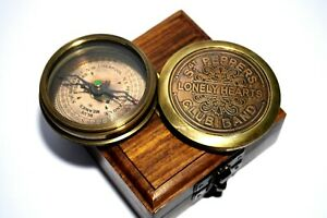 Ross London Vintage Brass Poem Compass Marine Club Band Compass With Wooden Box