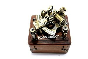 Ross London Antique Brass Navigation Sextant In Wooden Box Two Extra Telescope