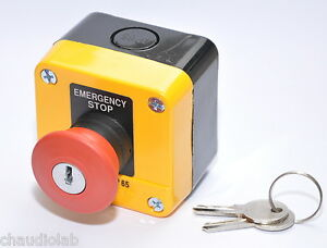 10 Units Hq Emergency Stop Pushbutton Switch With 2 Keys Ip65 24816