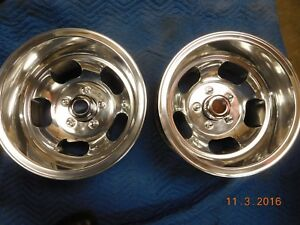 Polished Vintage 15x10 Slot Mag Wheels 5 On 5 Chevy Truck Van Mags Full Size Gm