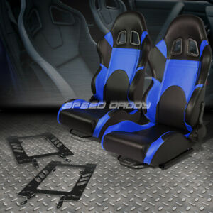 2x Woven Fabric Fully Reclinable Racing Seat bracket Blue For 79 98 Ford Mustang