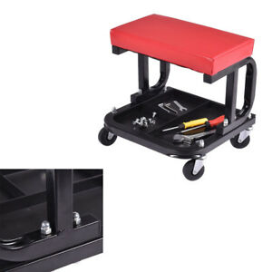 300lbs Auto Shop Mechanics Rolling Creeper Seat Garage Tray Padded Work Chair Us