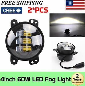2x 4inch 30w Cree Led Fog Lights Driving Lamps 97 18 For Jeep Wrangler Jk Tj Lj