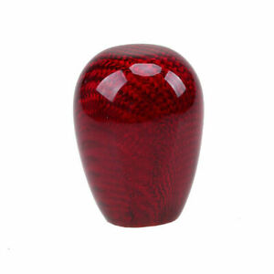 Red Real Carbon Fiber Car Gear Shift Knob Shifter Round Ball Style For Universal