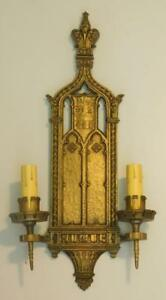 Antique Ornate Bronze Large Gothic Spanish Revival Sconce Light 25 High
