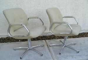 2 Vintage Steelcase Modern Chrome Fabric Office Chairs Lot Of 2