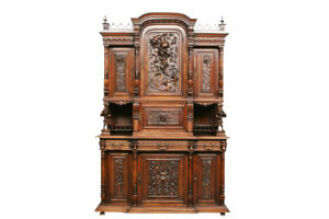 Magnificent Antique French Gothic Jester Cabinet Fantastic Carvings 19th Centu