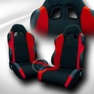 2x Universal Ts Blk red Cloth Leather Reclinable Racing Bucket Seats sliders C01