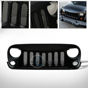 Black Angry Bird Vertical Mesh Front Bumper Grill Grille 07 18 Jeep Wrangler Jk