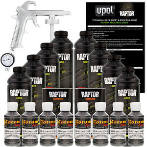 Raptor Charcoal Metallic Urethane Spray on Truck Bed Liner Spray Gun 8 Liters
