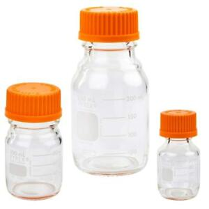 Corning Pyrex 1395 set Round Media Storage Bottles W Gl45 Screw Cap 3 Sizes