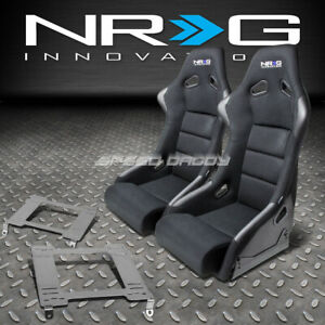 Nrg Fiberglass Bucket Racing Seats T304 Steel Mount Bracket For 240sx S13 S14 Ka