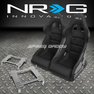 Nrg Pair Black Bucket Racing Seats Stainless Steel Bracket For Civic Fg2 Fa1 Fd2